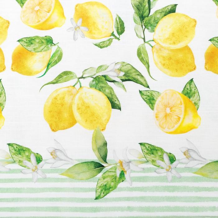 """Скатерть """"Этель"""" Лимоны 180х147 см, 100% хл, репс 190 гр/м2 - фото 443749881"""