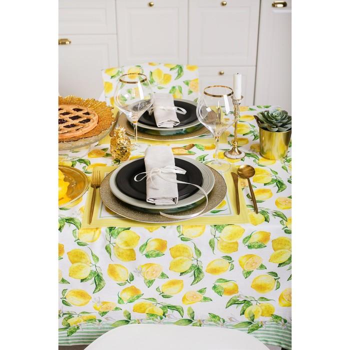 """Скатерть """"Этель"""" Лимоны 180х147 см, 100% хл, репс 190 гр/м2 - фото 443749886"""