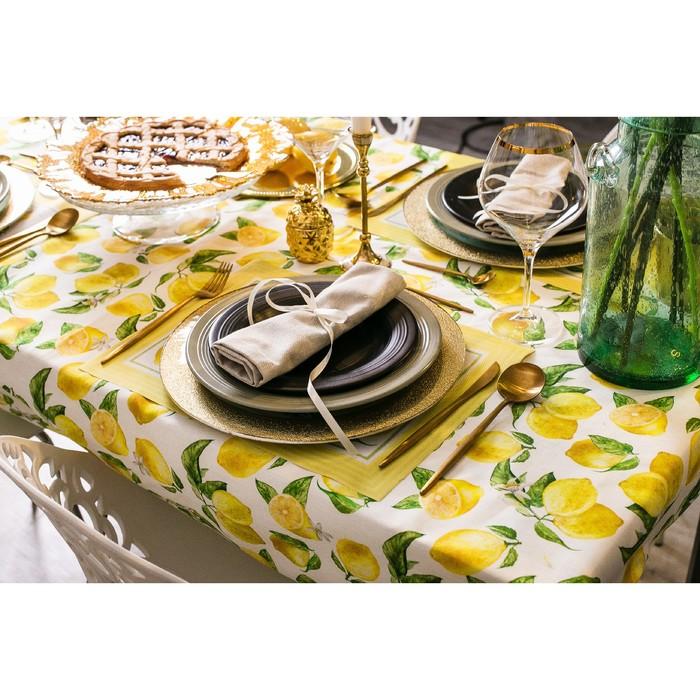 """Скатерть """"Этель"""" Лимоны 180х147 см, 100% хл, репс 190 гр/м2 - фото 443749887"""