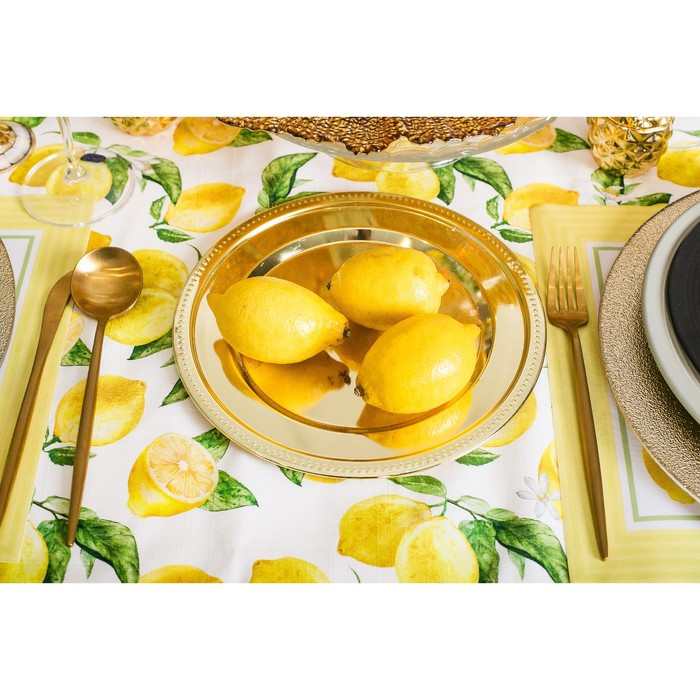"""Скатерть """"Этель"""" Лимоны 180х147 см, 100% хл, репс 190 гр/м2 - фото 443749889"""