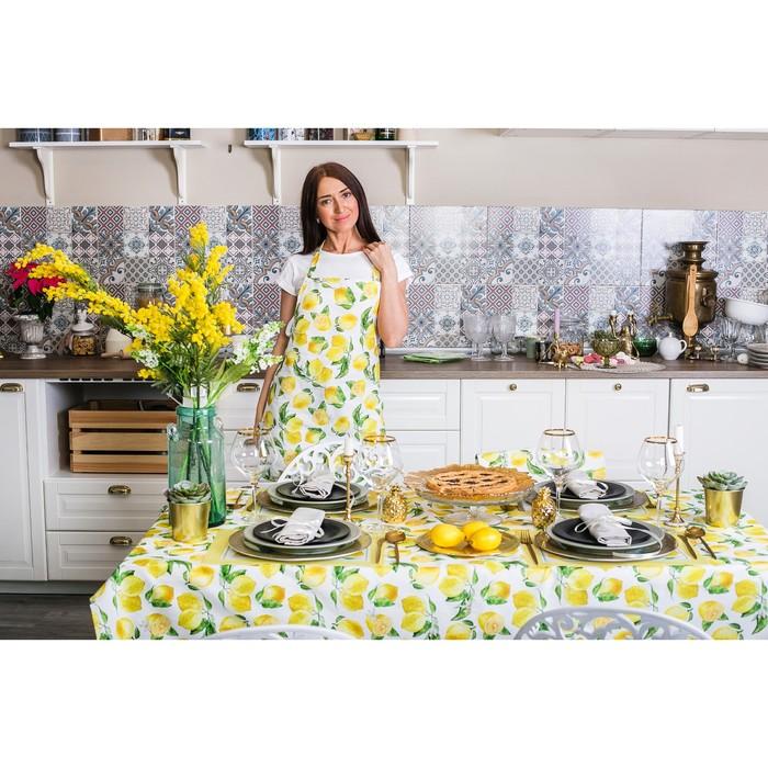 """Скатерть """"Этель"""" Лимоны 180х147 см, 100% хл, репс 190 гр/м2 - фото 443749890"""