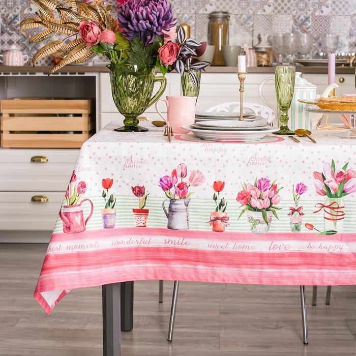 """Скатерть """"Этель"""" Тюльпаны  220х147 см, 100% хл, репс 190 гр/м2"""
