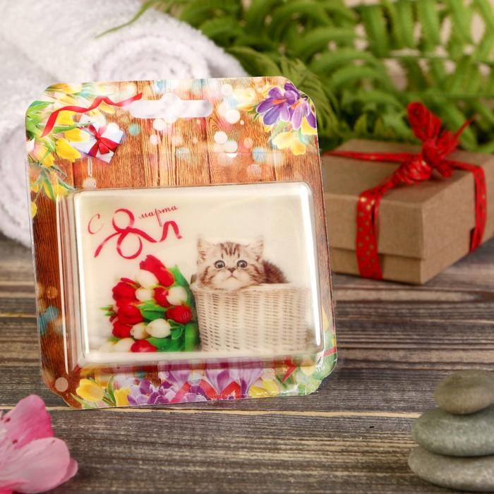 """Натуральное мыло """"С 8 Марта. Котик с тюльпанами"""", шоколад, """"Добропаровъ"""", 100гр"""