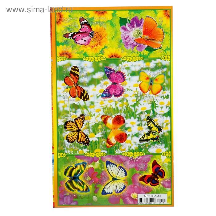 """Наклейки """"Бабочки"""" на цветах, глиттер"""
