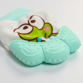 Прорезыватель рукавичка «Лягушонок», цвет зелёный