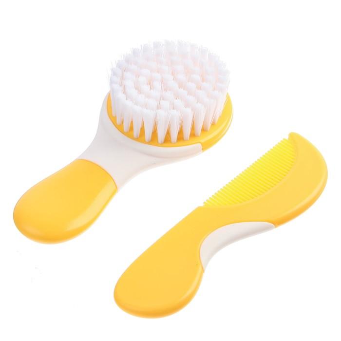 Набор расчёсок, 2 предмета: расчёска с зубчиками + щётка, цвет МИКС