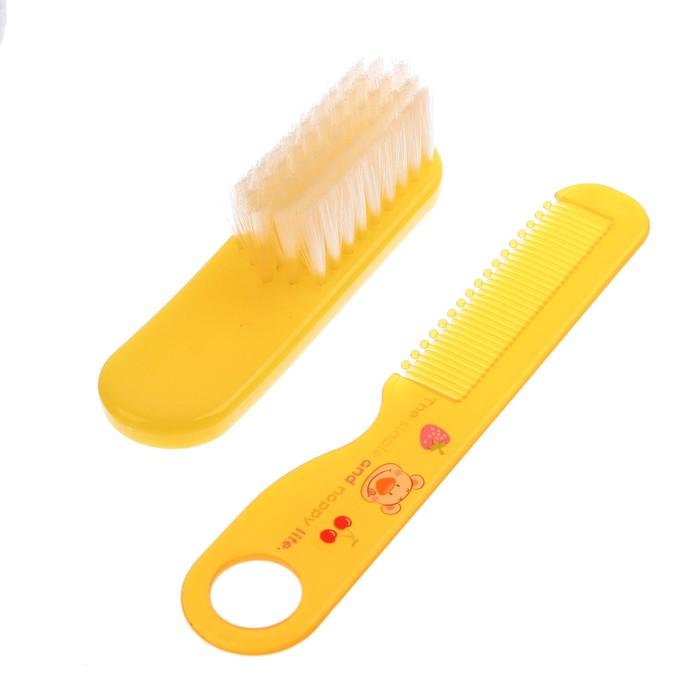 Набор расчёсок, 2 предмета: расчёска с зубчиками + щётка, цвет жёлтый
