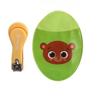 Маникюрные щипчики детские с чехлом «Мишка», цвет зелёный