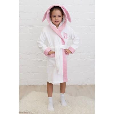 Халат детский «Зайчик», рост 92 см, белый+розовый, махра
