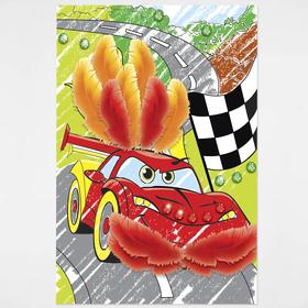 Набор для творчества. Аппликация - раскраска с перьями и стразами «Машинка» 15,8 х 23,6 см. Набор для творчества