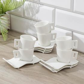 """Сервиз кофейный """"Клео"""", 12 предметов: 6 чашек 80 мл, 6 блюдец 13,5 см"""