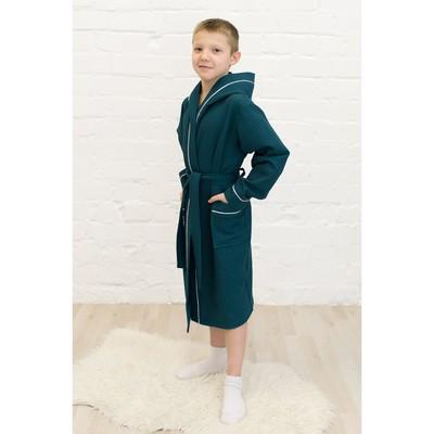 Халат для мальчика, рост 152 см, изумрудный, вафля, 406-152-И