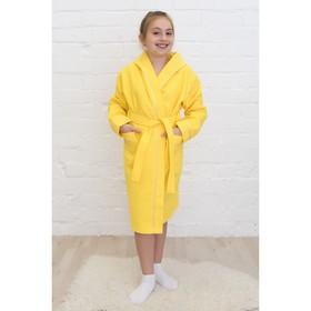 Халат для девочки, рост 152 см, лимонный,  вафля, 406-152-Л