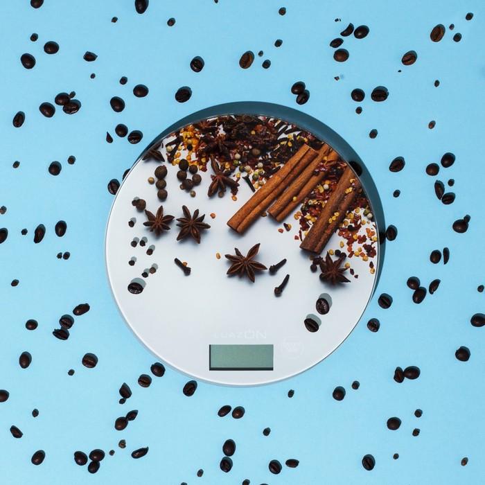 """Весы электронные кухонные LuazON LVK-701 до 7 кг, круглые, стекло, """"Корица"""""""