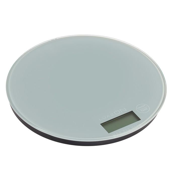 Весы электронные кухонные LuazON LVK-506 до 5 кг, круглые, стекло, серые