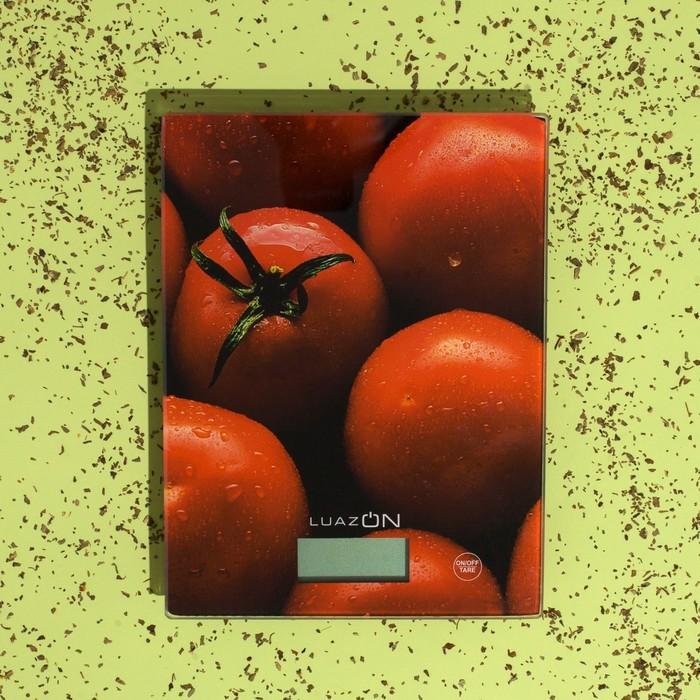 """Весы электронные кухонные LuazON LVK-702 до 7 кг, стекло, """"Томаты"""""""