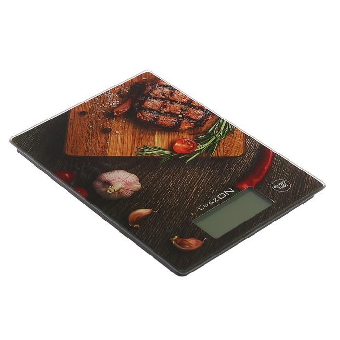 """Весы электронные кухонные LuazON LVK-705 до 7 кг, стекло, подсветка, """"Стейк"""""""
