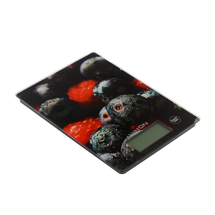 """Весы электронные кухонные LuazON LVK-705 до 7 кг, стекло, подсветка, """"Лесные Ягоды"""""""