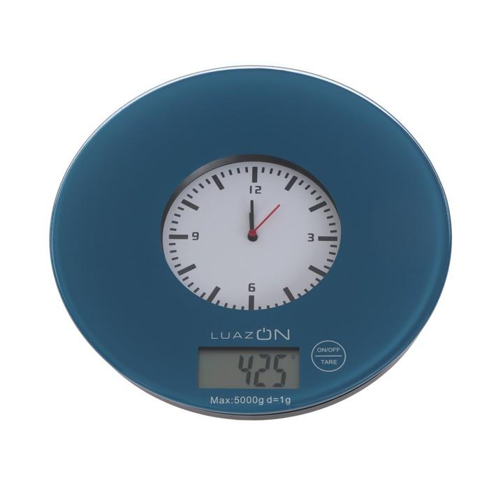 Весы кухонные LuazON LVK-508, электронные, до 5 кг, встроенные часы, тёмно-синие