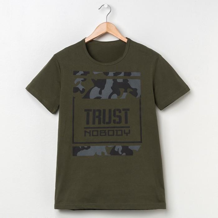 """Футболка мужская """"Trust"""" р. 3XL(56), хаки"""