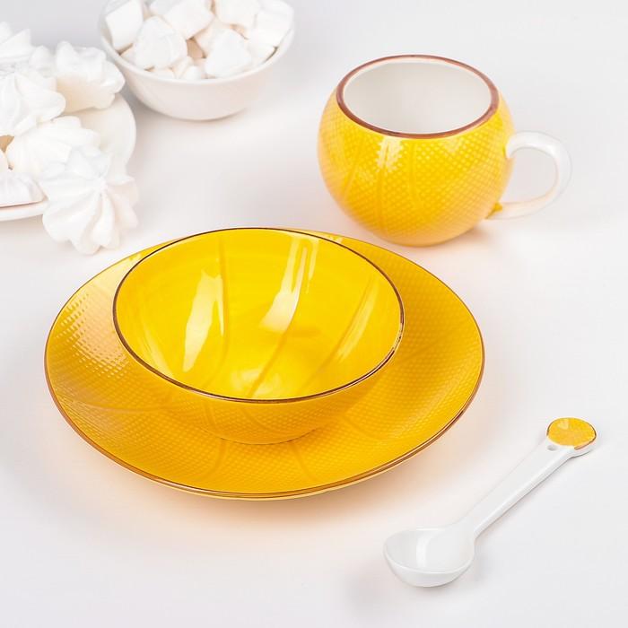 """Набор детский посуды """"Баскетбольный мяч"""", 4 предмета: тарелка 20 см, миска 13 см, чашка 180 мл, ложка"""