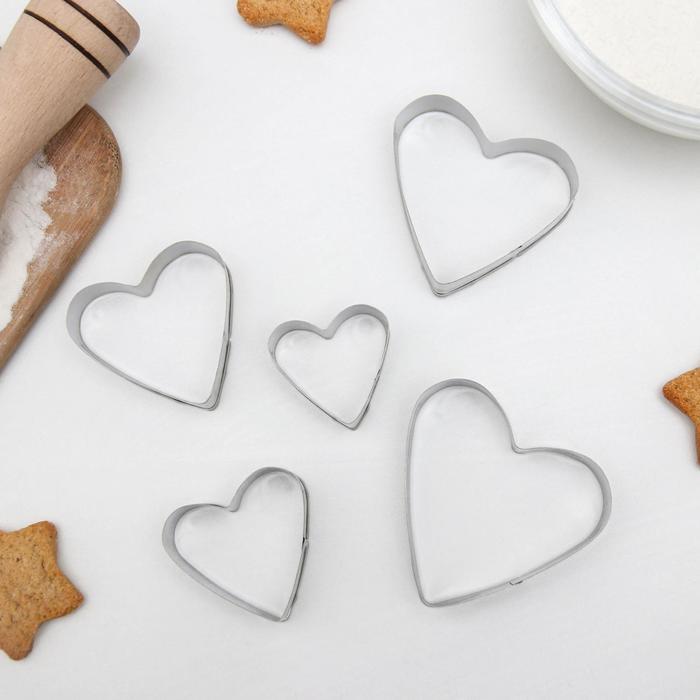 """Набор форм для вырезания печенья 7,5x7,4 см """"Сердечко"""", 5 шт"""