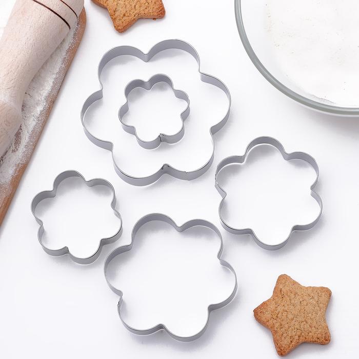 Набор форм для вырезания печенья «Ромашка», 5 шт, 7,8×7,8 см - фото 231445702
