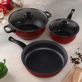 Набор посуды Promo Stone violet: кастрюля 3л ,24 см, ковш 1,5 л, сковорода 24 см, крышки 2 шт