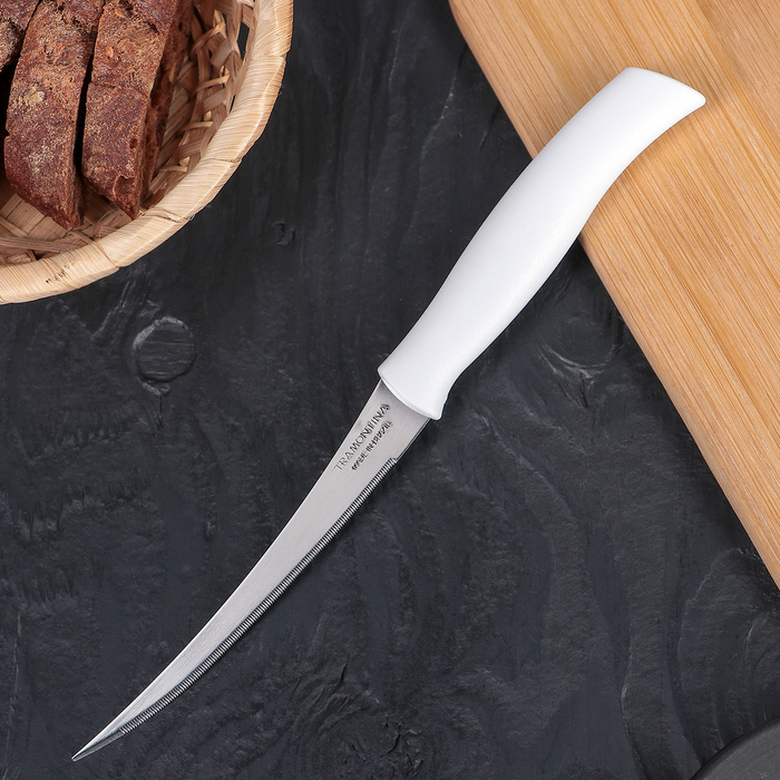 Нож для помидоров и цитрусовых Tramontina Athus, лезвие 12,5 см, сталь AISI 420, белая рукоять