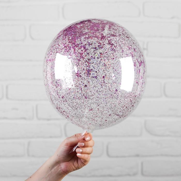 """Шар полимерный 12"""" """"Сфера"""", блестки, цвет розовый - фото 299203230"""