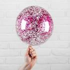 """Шар полимерный 12"""" """"Сфера"""", блестки шестиугольники, цвет розовый"""