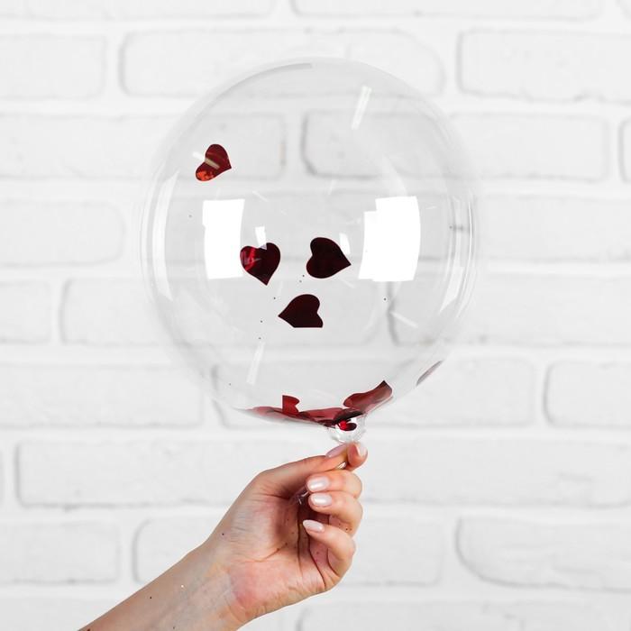 """Шар полимерный 12"""" «Сфера», сердца, фольга, цвет красный - фото 308466622"""
