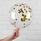 "Ball polymer 12"", ""Sphere"", heart, foil, color Golden"
