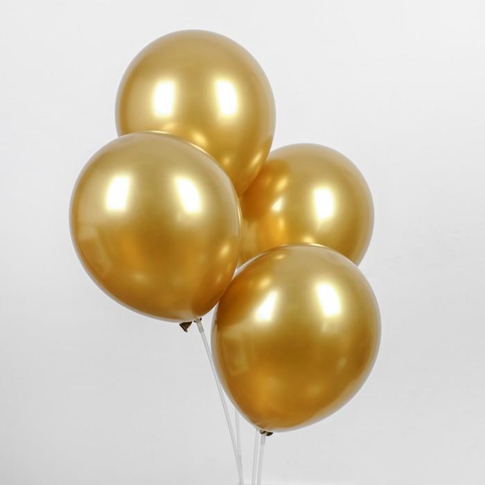 """Шар латексный 12"""" """"Хром"""", металл, набор 4 шт, цвет золотой - фото 148339470"""