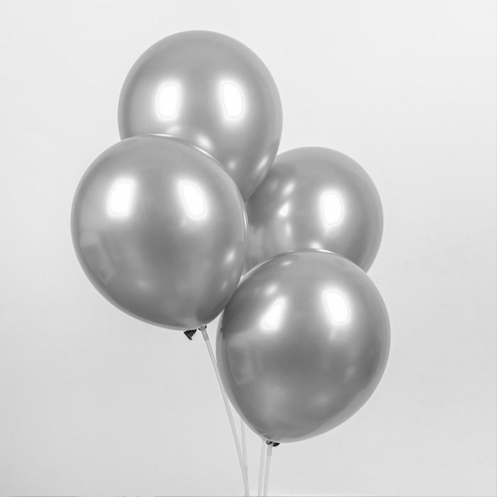 """Шар латексный 12"""" «Хром», металл, набор 4 шт., цвет серебряный - фото 308475136"""