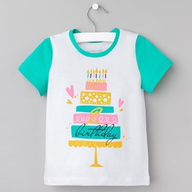 "Футболка Крошка Я ""Birthday"" , рост 86-92 см, (р-р 28), белый"