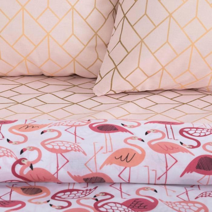 Постельное бельё «Этель» 1,5 сп. Фламинго143×215 см, 150×214 см, 70×70 см - 2 шт., 100% хл, бязь 125 г/м²