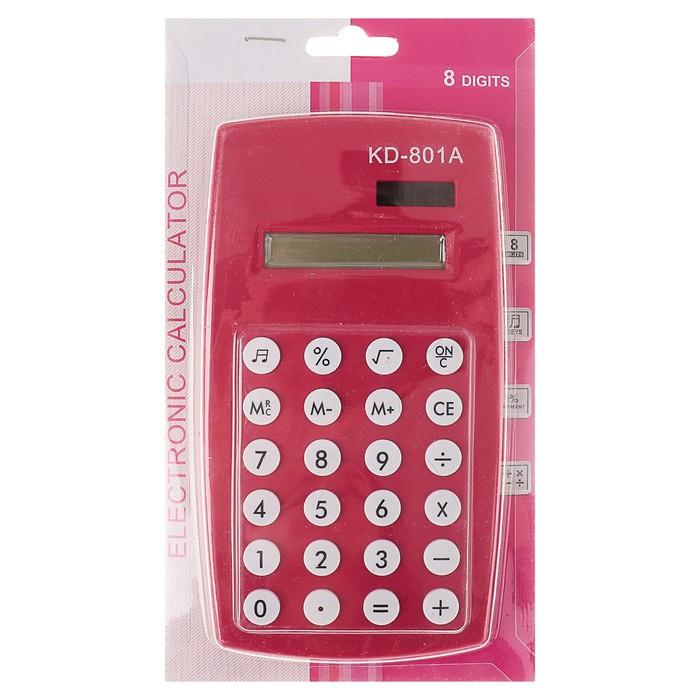 Калькулятор настольный, 8-разрядный, двойное питание, МИКС - фото 450117261