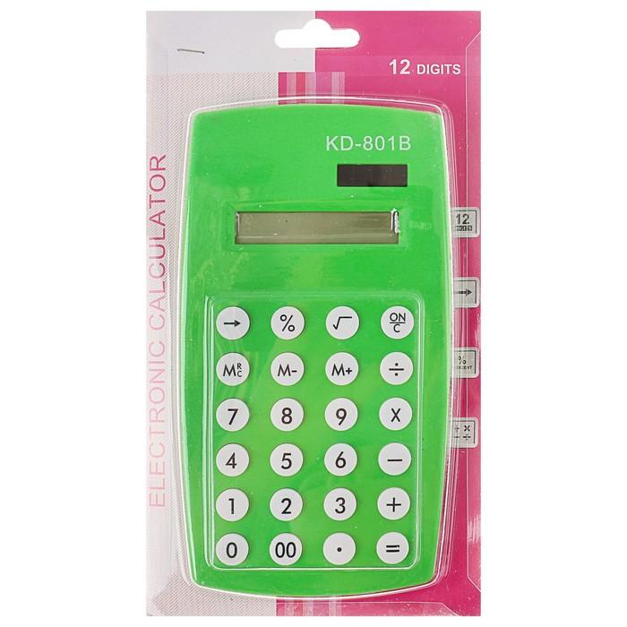 Калькулятор настольный, 12-разрядный, двойное питание, МИКС - фото 448832952