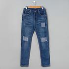 Джинсы женские, Slim fit, заплатки, размер 46, цвет синий