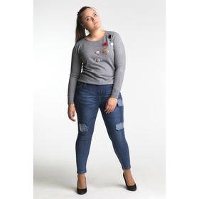Джинсы женские, Slim fit, заплатки, размер 48, цвет синий