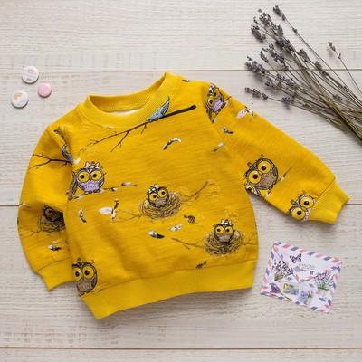 Толстовка для девочки MINAKU «Совята», рост 86-92 см, цвет жёлтый