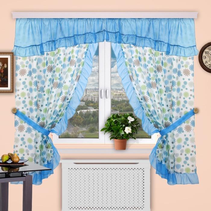 Шторы кухонные «Забава», 150 × 180 см - 2 шт, 300 × 50 см - 1 шт, цвет 142
