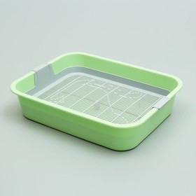 """Туалет """"Мур-мяу"""" для кошек, с сеткой, 33,2 х 25,6 х 7,2 см, зелёный"""