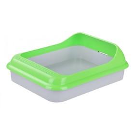 """Туалет с рамкой """"Барсик"""", 45,5 х 35,5 х 16 см, зеленый/серый"""