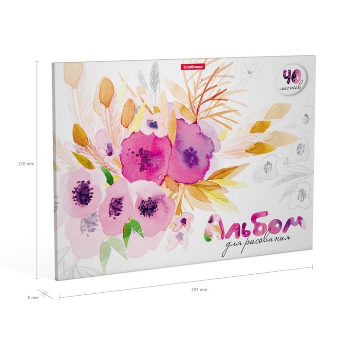 Альбом для рисования А4, 40 листов на клею ErichKrause, школьно-письменые принадлежности - фото 373639084