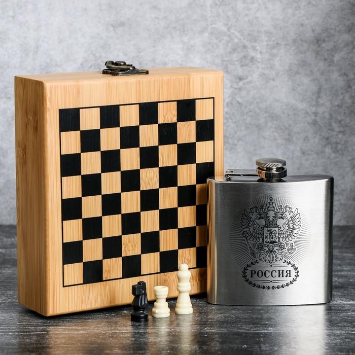 "Набор ""Россия"", фляжка 180 мл, шахматы"