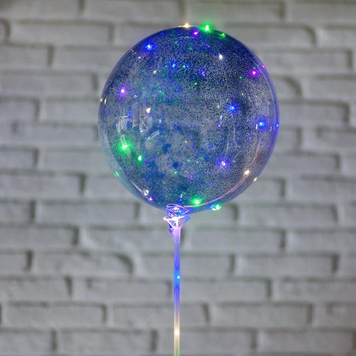 """Шар полимерный 20"""" светящийся, со светодиодной лентой, блёстки, цвет голубой - фото 308466259"""