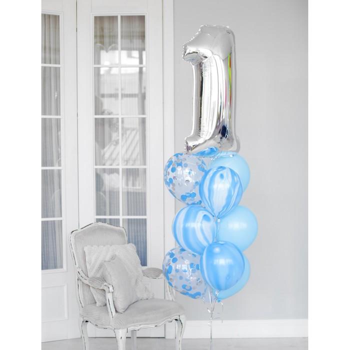 """Фонтан из шаров """"1 годик"""", для мальчика, латекс, фольга, 10 шт."""