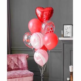 """Фонтан из шаров """"Большая любовь"""", с конфетти, латекс, фольга, 10 шт."""